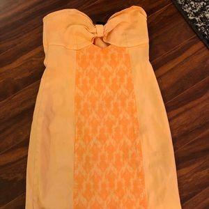 Nasty Gal orange strapless dress